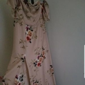 Fashion nova short dress beige floral
